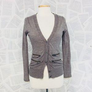 Wallace Jersey Knit Sweater Taupe Zipper Small